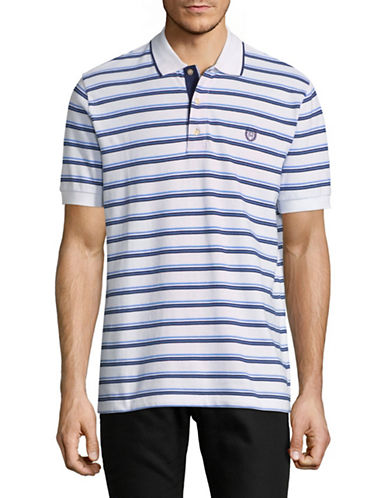 Chaps Striped Short-Sleeve Cotton Polo-WHITE-Large