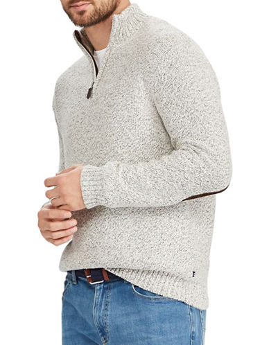 Chaps Big and Tall Zip-Placket Mockneck Sweater-NATURAL-1X Tall
