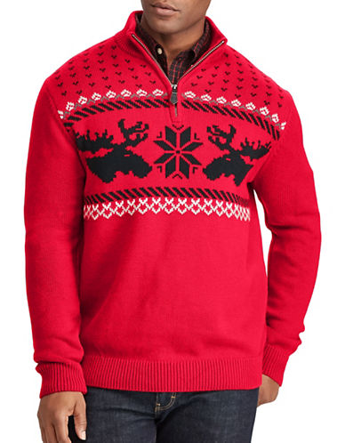 Chaps Big and Tall Christmas Cotton Sweater-RED-2X Tall