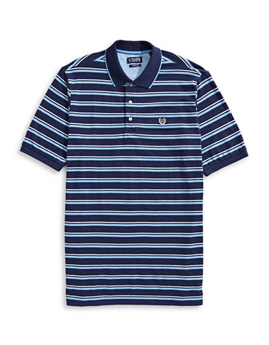 Chaps Striped Cotton-Blend Polo Shirt-BLUE-4X Big