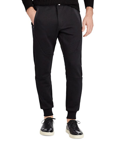 Polo Ralph Lauren Double-Knit Moto Joggers-BLACK-Medium