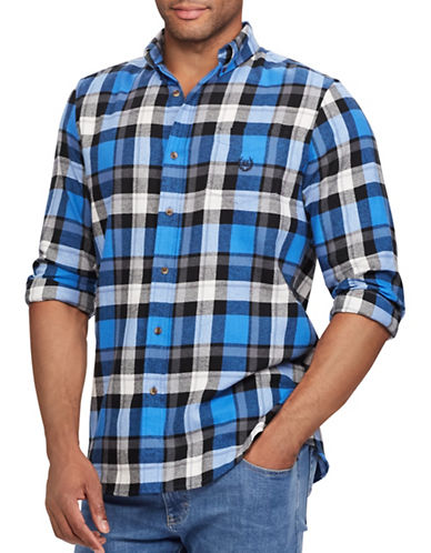 Chaps Performance Flannel Sport Shirt-BLUE-Small