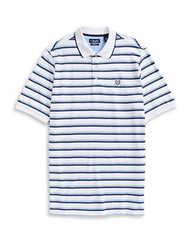Chaps Striped Cotton-Blend Polo Shirt-WHITE-2X Tall