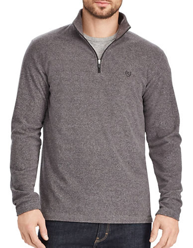 Chaps Fleece Mockneck Pullover-GREY-X-Large