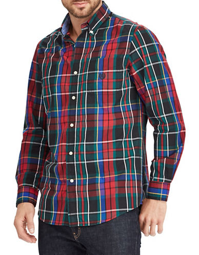 Chaps Plaid Logo Sportshirt-BLACK-Medium