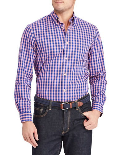 Chaps Plaid Stretch Sportshirt-PINK-Small