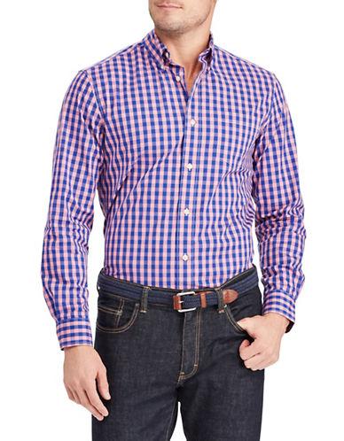 Chaps Plaid Stretch Sportshirt-PINK-X-Large