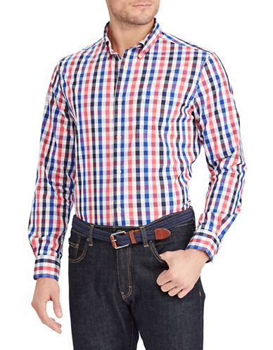 Chaps Multi-Coloured Plaid Sportshirt-PINK-Large