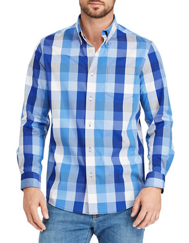 Chaps Plaid Stretch Sportshirt-BLUE-Large
