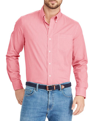 Chaps Gingham Stretch Sportshirt-PINK-Medium