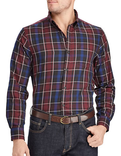 Chaps Tartan Twill Sport Shirt-PURPLE-Medium