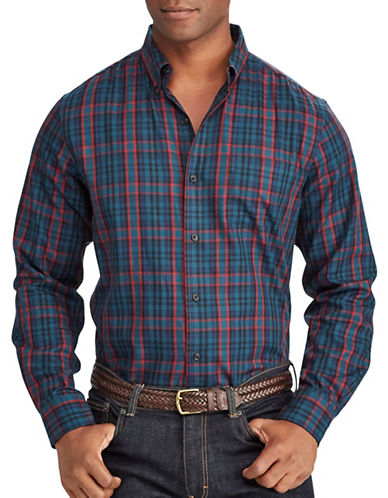 Chaps Tartan Twill Sport Shirt-GREEN-Small
