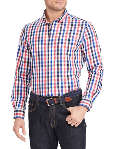 Chaps Plaid Stretch Sport Shirt-PINK-Medium