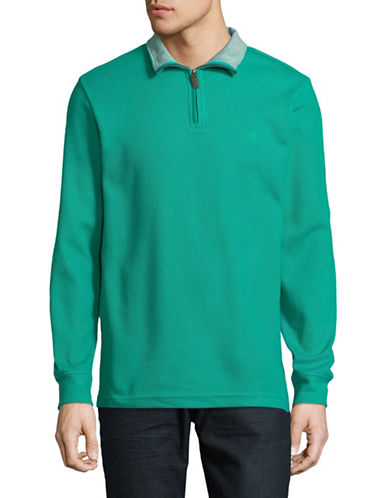 Chaps Cotton-Blend Half-Zip Top-GREEN-Small