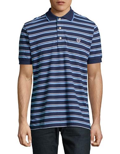 Chaps Striped Cotton Polo-BLUE-Large