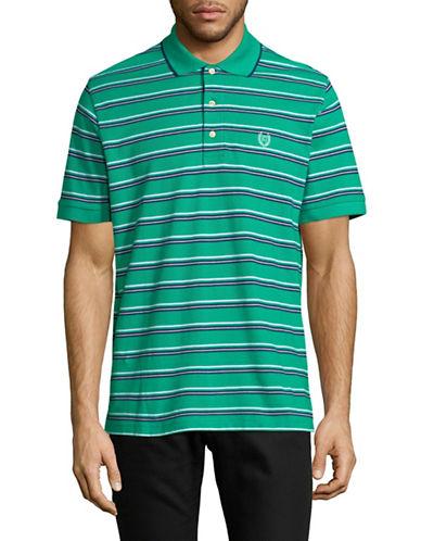 Chaps Cotton Striped Fashion Polo-GREEN-Medium