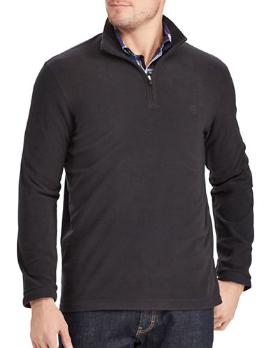 Chaps Fleece Mockneck Pullover-BLACK-Medium