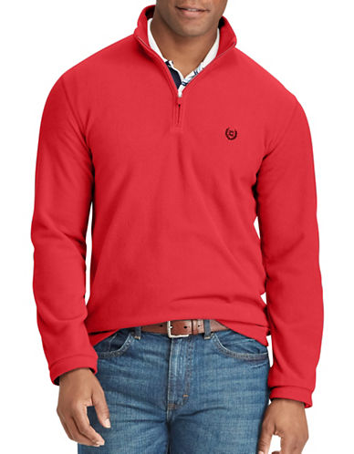 Chaps Fleece Mock-Neck Pullover-RED-Small