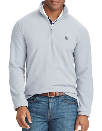 Chaps Fleece Mockneck Pullover-BLUE-Medium