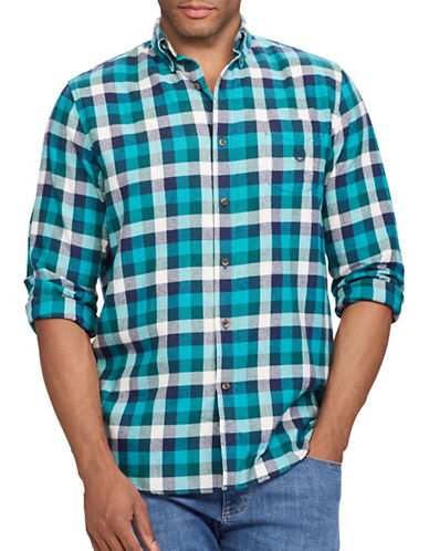 Chaps Performance Flannel Sport Shirt-GREEN-Small