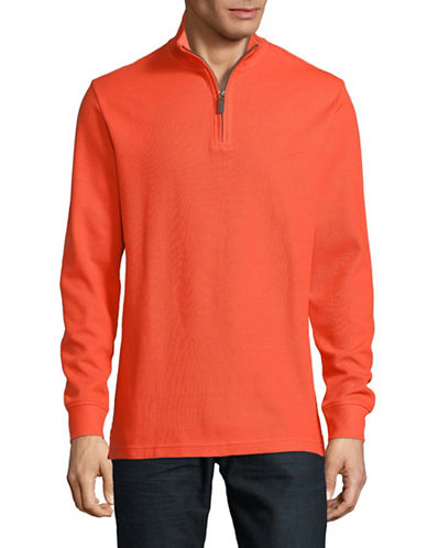Chaps Half-Zip Mock Neck Pullover-ORANGE-X-Large