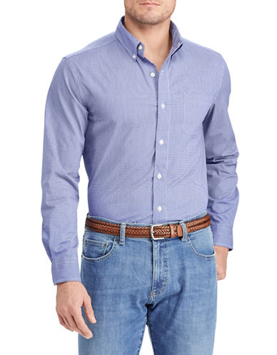 Chaps Gingham Stretch Sportshirt-BLUE-Large