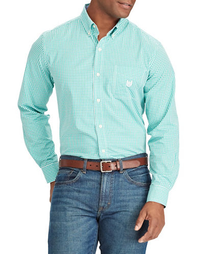 Chaps Gingham Stretch Sportshirt-GREEN-Medium