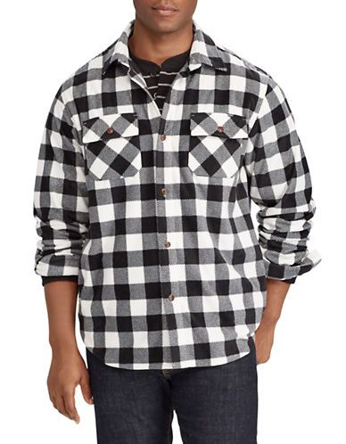 Chaps Plaid Fleece Shirt Jacket-NATURAL-Small