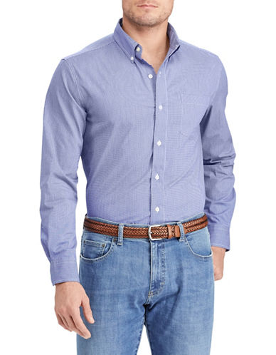 Chaps Easy-Care Stretch Sportshirt-BLUE-Large Tall