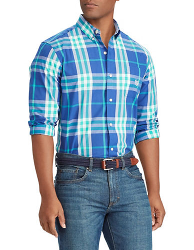Chaps Logo Plaid Sportshirt-BLUE-4X Big