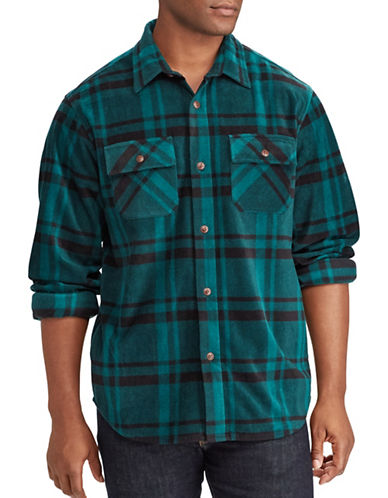 Chaps Big and Tall Two-Pocket Shirt Jacket-GREEN-1X Tall