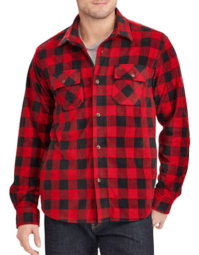 Chaps Big and Tall Two-Pocket Shirt Jacket-RED-2X Tall