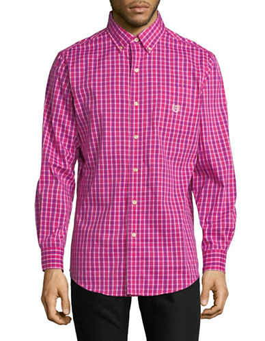 Chaps Plaid Long-Sleeve Cotton Sportshirt-PINK-Small
