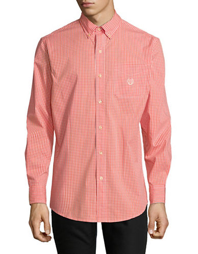 Chaps Gingham Long-Sleeve Sportshirt-ORANGE-Medium