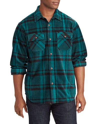Chaps Plaid Sport Shirt-GREEN-Large