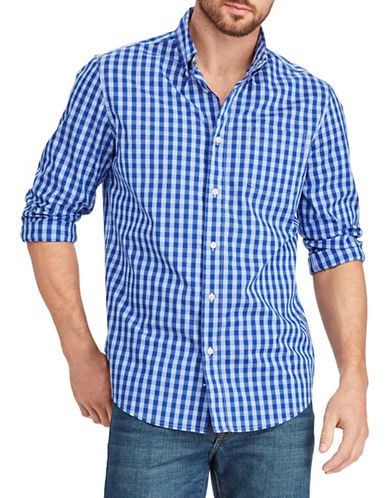 Chaps Plaid Stretch Sport Shirt-BLUE-2X Big