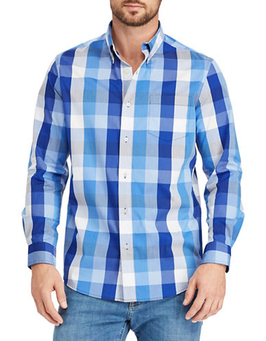 Chaps Tartan Stretch Sport Shirt-BLUE-Large Tall