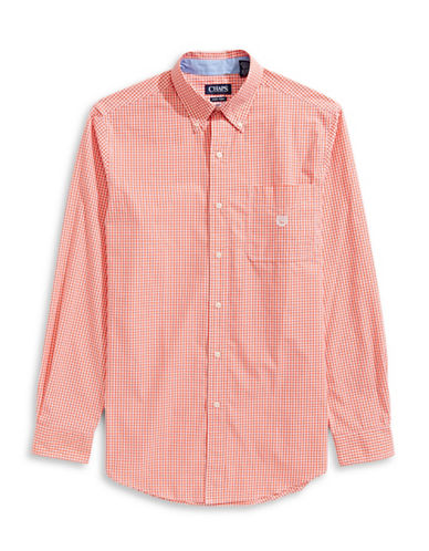 Chaps Cotton Gingham-Print Sport Shirt-ORANGE-3X Big