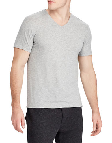 Polo Ralph Lauren V-Neck Custom Slim-Fit Jersey Tee-GREY-Small