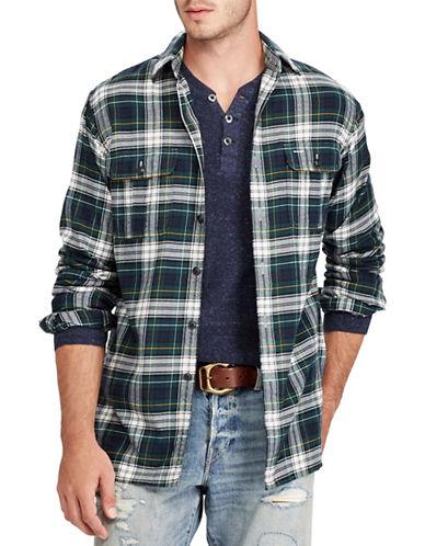 Polo Ralph Lauren Suede-Trimmed Plaid Cotton Sport Shirt-GREEN-Large