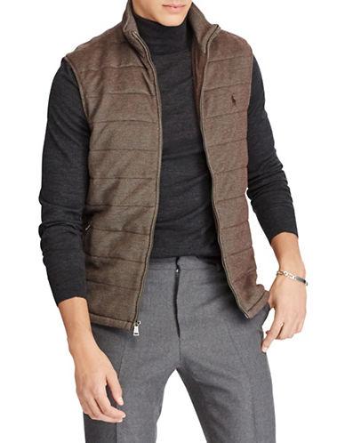 Polo Ralph Lauren Quilted Cotton-Blend Zip Vest-BROWN-Large