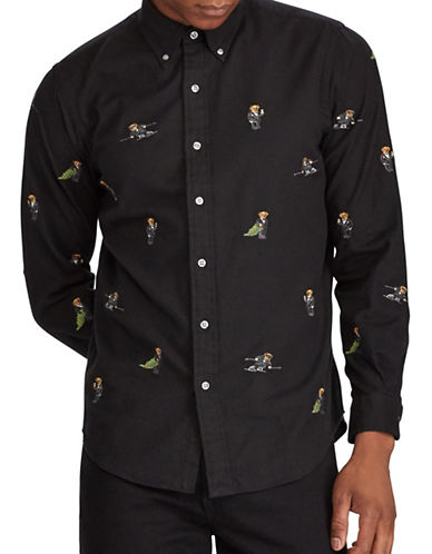 Polo Ralph Lauren Embroidered Polo Bear Cotton Sport Shirt-POLO BLACK-X-Large 89609366_POLO BLACK_X-Large