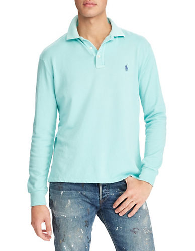 Polo Ralph Lauren Long Sleeve Cotton Polo-GREEN-Medium