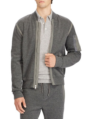 Polo Ralph Lauren Cotton-Blend Zip Bomber Jacket-GREY-X-Large