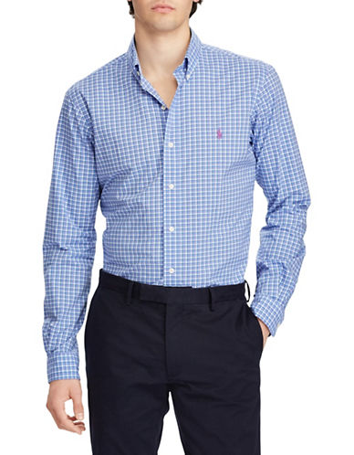 Polo Ralph Lauren Classic-Fit Cotton Sport Shirt-BLUE/WHITE-Small