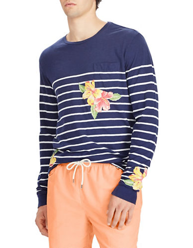 Polo Ralph Lauren Floral Cotton Tee-BLUE-Small