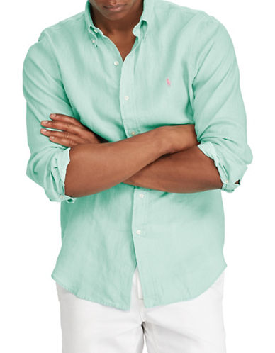 Polo Ralph Lauren Classic-Fit Linen Sportshirt-GREEN-X-Large