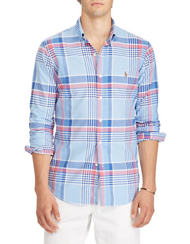 Polo Ralph Lauren Plaid Cotton Sport Shirt-BLUE-Large