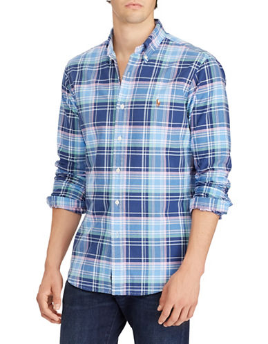 Polo Ralph Lauren Plaid Cotton Sport Shirt-BLUE-Medium