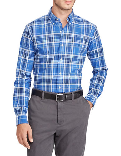 Polo Ralph Lauren Classic Fit Plaid Cotton Sport Shirt-BLUE-Large Tall